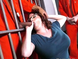 Horny Black Dudes Fuck Fucky-fucky-appeal Big-boobed Milky Mommy Of Their Cellmate