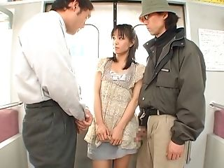 Horny First-timer Biotch Nana Nanaumi Stripped And Fucked By Two Dudes