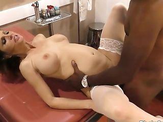 Whorish Nurse Sky Rodgers Goes Wild On A Hard Black Penis