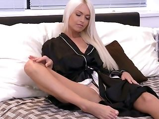 Voluptuous Blonde Lena Love Is Pleasing Herself On The Sofa