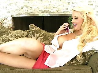 Blonde Cougar Pornographic Star With Immense Faux Tits Courtney Taylor Licks Nut