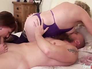 One Dude Lovin' Utter Attention Of Two Absolutely Horny Matures Ladies