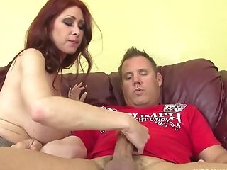 Inexperienced Manstick Milking On The Couch Finishes With A Breast Banging From Tiffany Mynx
