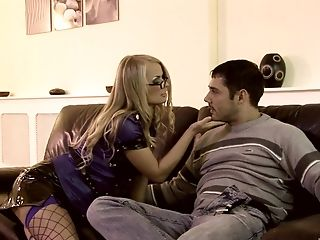 Blonde In Spandex Police Uniform Dora Venter Deep Throats And Rails A Lucky Boy