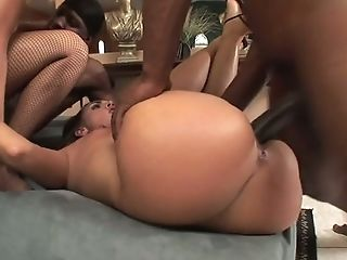Two Black Dudes Fuck Hard Big-titted Milky Whores In Different Positions