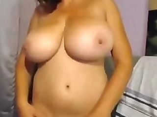 Dark Haired Posing Her Large Big Tits
