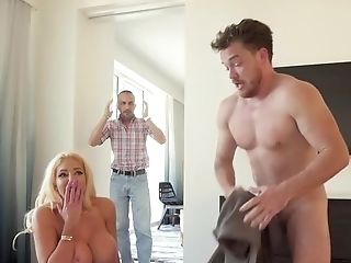 Exhilarated Blonde Gets The Step Sonny To Flash Her A Good Time