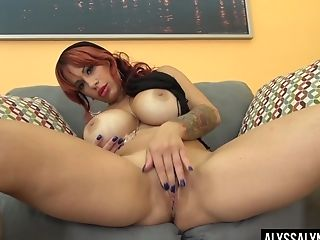 Big-boobed Chubby Alone Ginger-haired Alyssa Lynn Is Into Frigging Herself