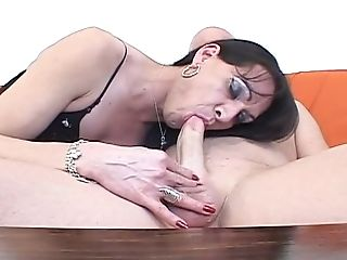 Sassy Shemale In Stockings Gives Her Head And Trains Dude How To Suck