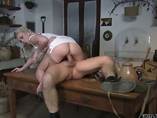 Torrid Blondie With Big Tits Gets Fucked By Cocky Soldier On The Table