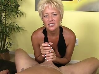 Blonde Matures Taunts With Her Globes And Snatch During A Dick Rubdown