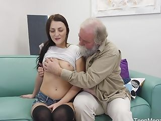 Fledgling Lengthy Haired Dark-haired Katy Rose Pounded Hard By An Older Boy