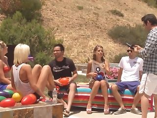 Lovely Chicks Get Spoke Into Fucking With Deviant Guys Outdoors